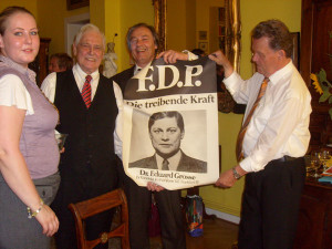 Vanessa Grosse, Dr. Eduard Grosse, Wolfgang Brehmke, Ernst Bergemann (v.l.n.r.). 80er Geburtstag.